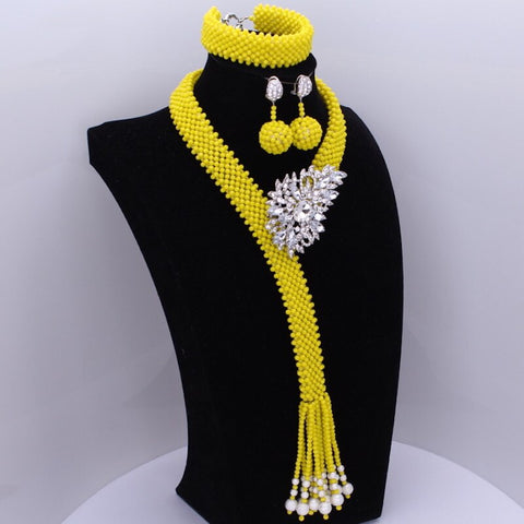 African Beads Jewelry Set - Sexy Yellow Handmade Jewelry Necklace Set - Moses Chikoti