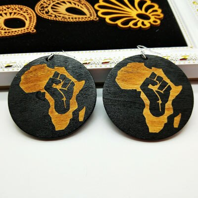 Handmade African Wood Engraved Drop Earrings