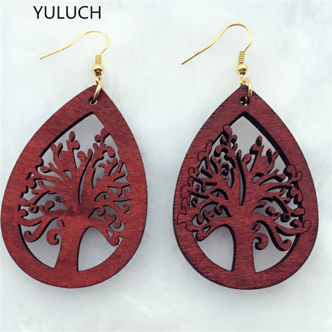YULUCH personality New design Big handmade Natural african  wood earring for women - Moses Chikoti