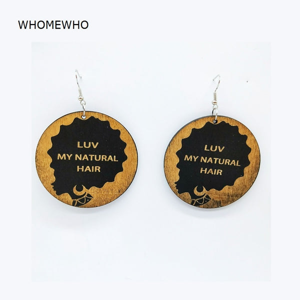 Unfinished Wood Geometric Round Africa Letters Hairstylist Black Hair Drop Handmade Earrings - Moses Chikoti