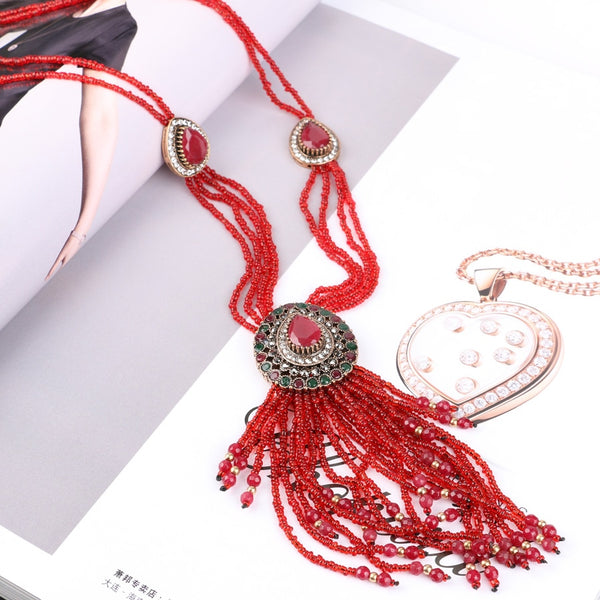 African Handmade Crystal Beads Tassel Necklaces, Pendants For Women