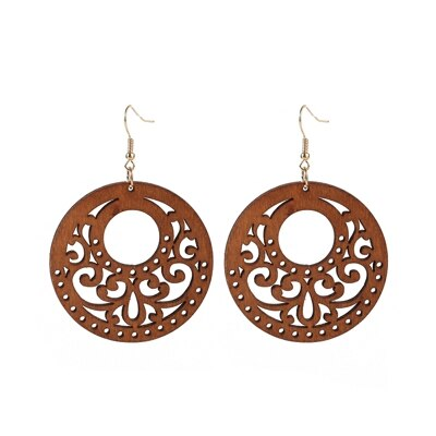 Natural Handmade African Wooden Round Cutout Lucky Rune Pendant Earrings for Women J