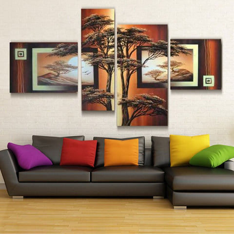 African Hand Painted Modern Abstract Oil Painting On Canvas