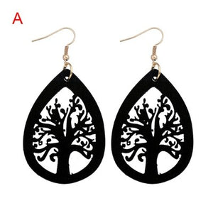 YULUCH Vintage Ethnic Handmade Natural Wooden Black Drops With Hollow Out Tree Pendant African Fashion Earrings Jewelry - Moses Chikoti