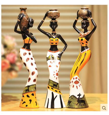 Three-Piece Creative Decoration Resin Dolls Highlighting African Culture