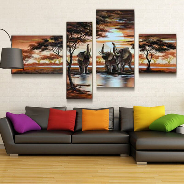 Four-Piece Canvas Oil Painting Of Elephants