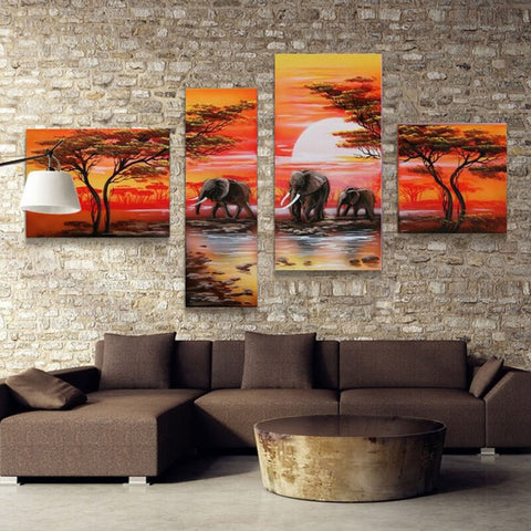 African Elephant And African Safari Landscape Hand Painting On Canvas