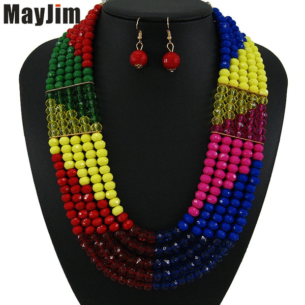 Handmade statement fashion layered necklace, gold chain, yellow African crystal bead jewelry set