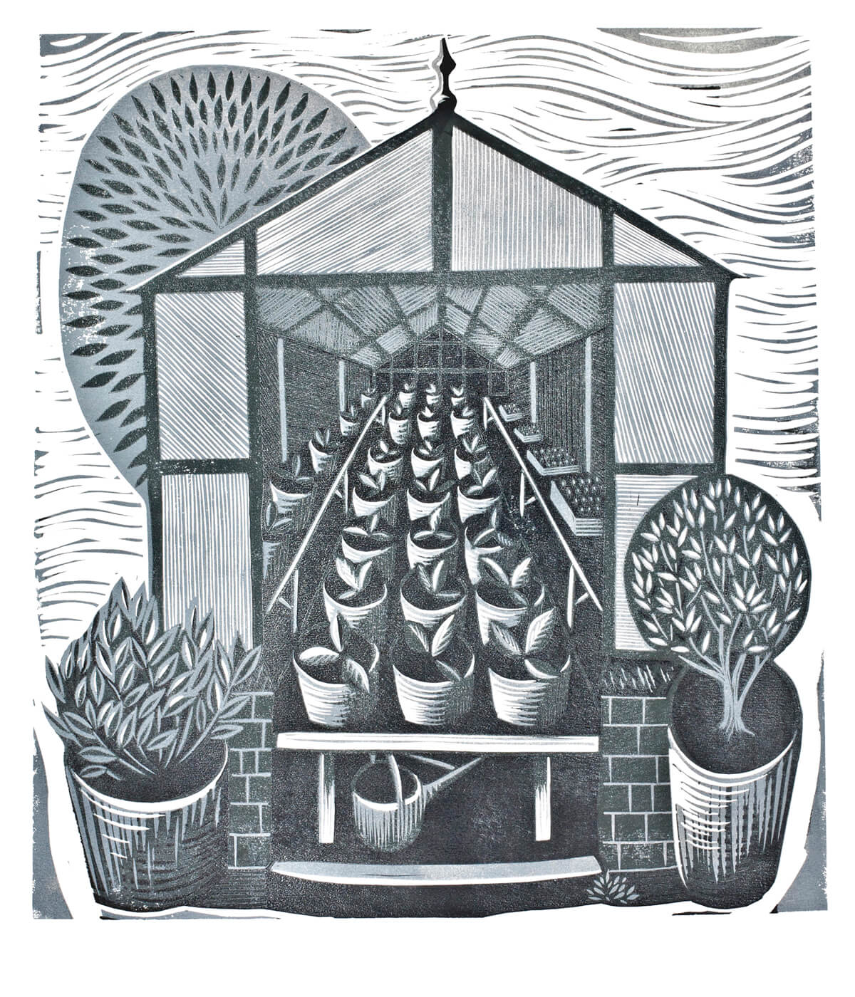 Greenhouse, linocut print by Sarah Kirby