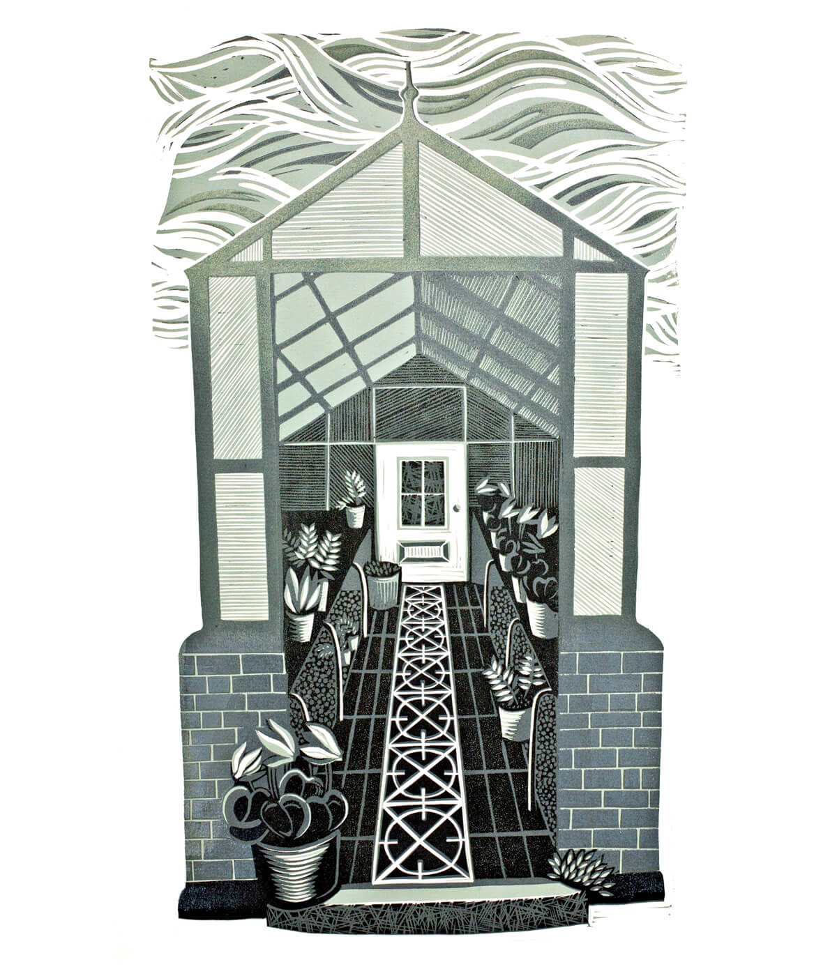 Greenhouse II, linocut print by Sarah Kirby