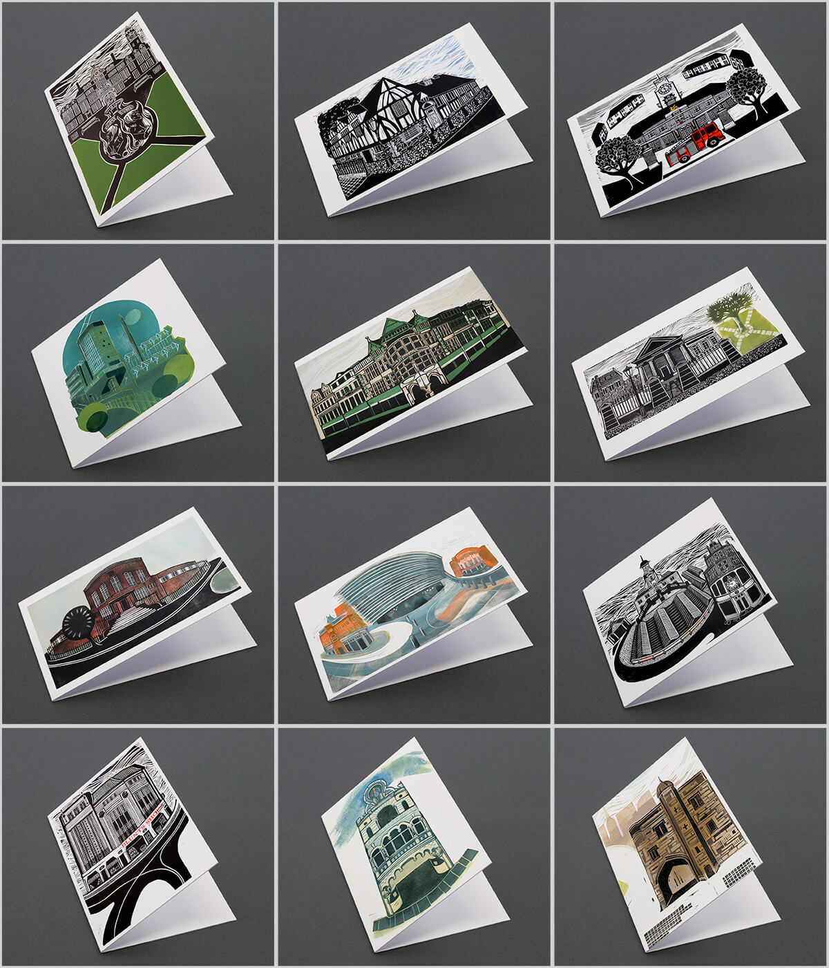 Leicester Landmarks, a pack of linocut greeting cards by Sarah Kirby