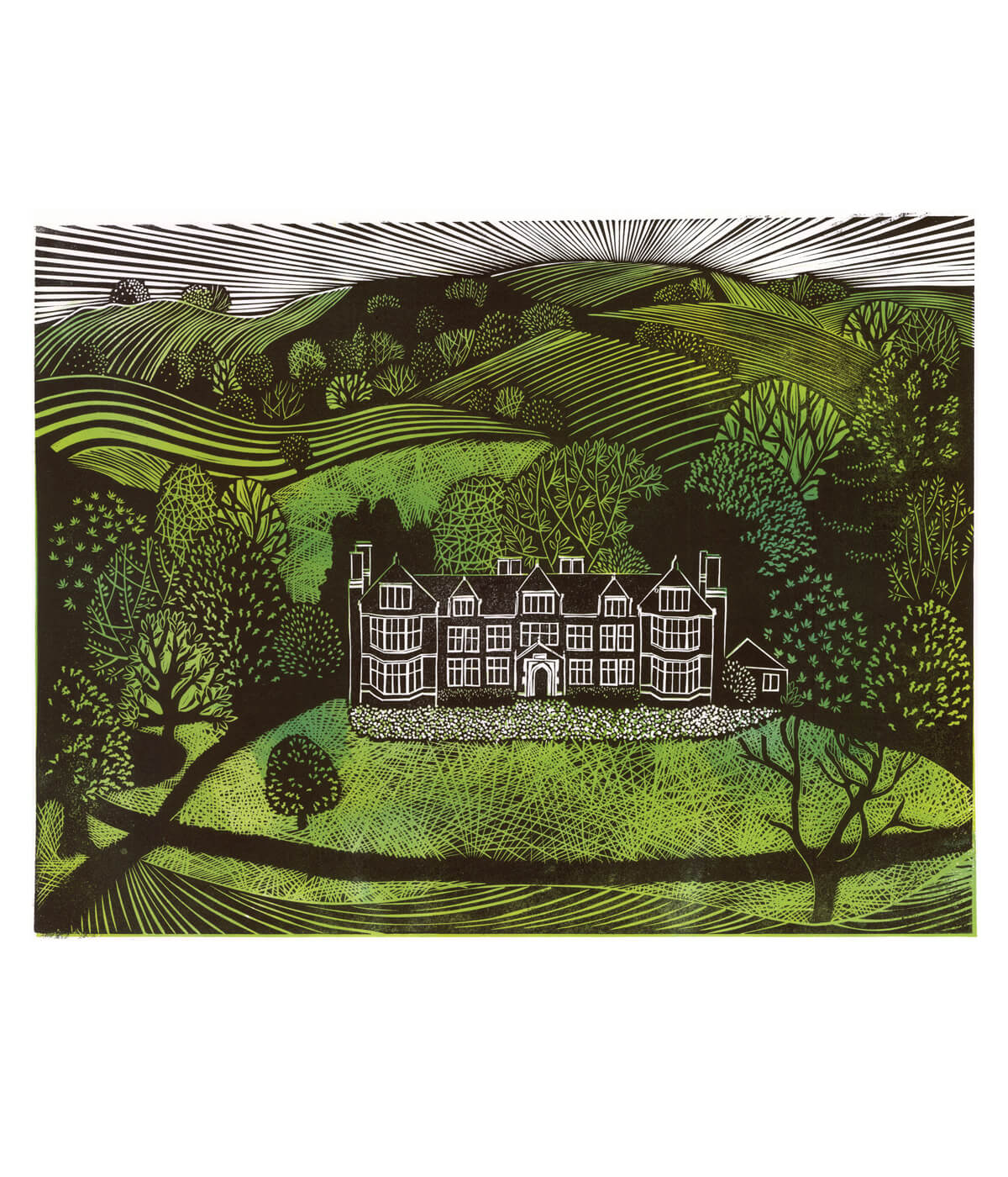 Launde Abbey, a linocut print by Sarah Kirby