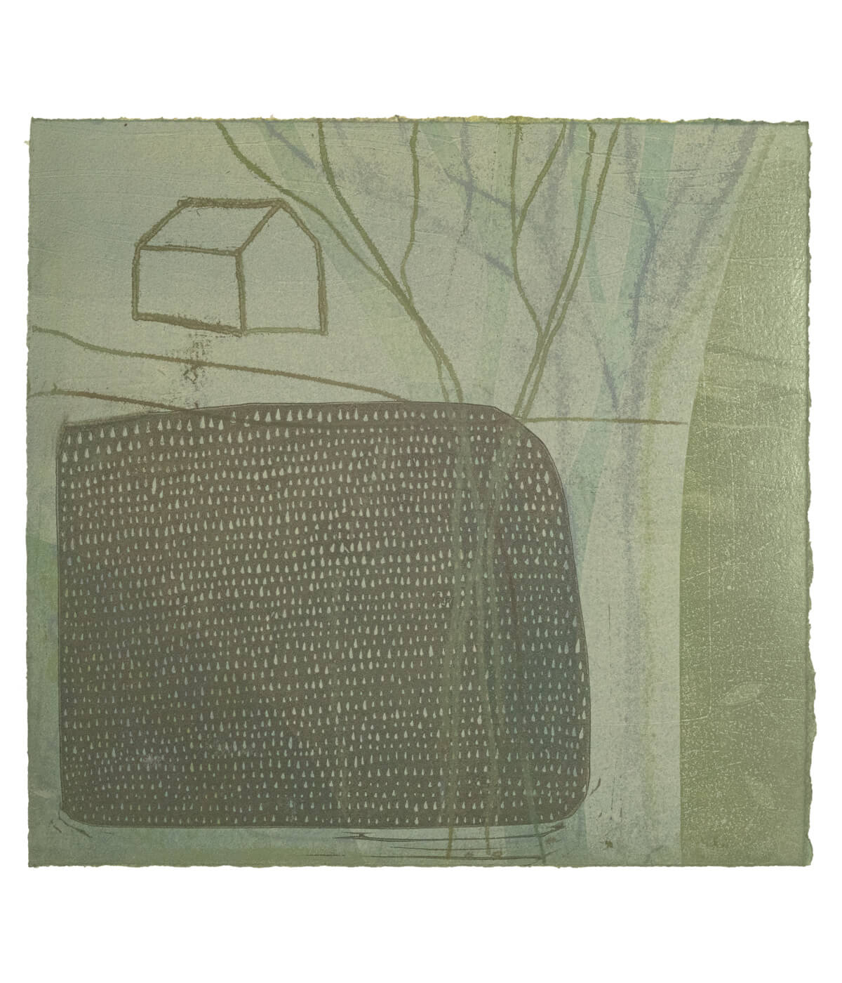 Plot, a monotype print by Sarah Kirby