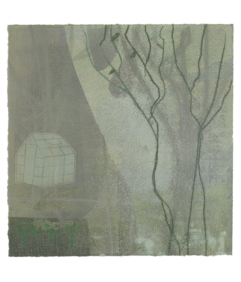 Glasshouse, monotype print by Sarah Kirby