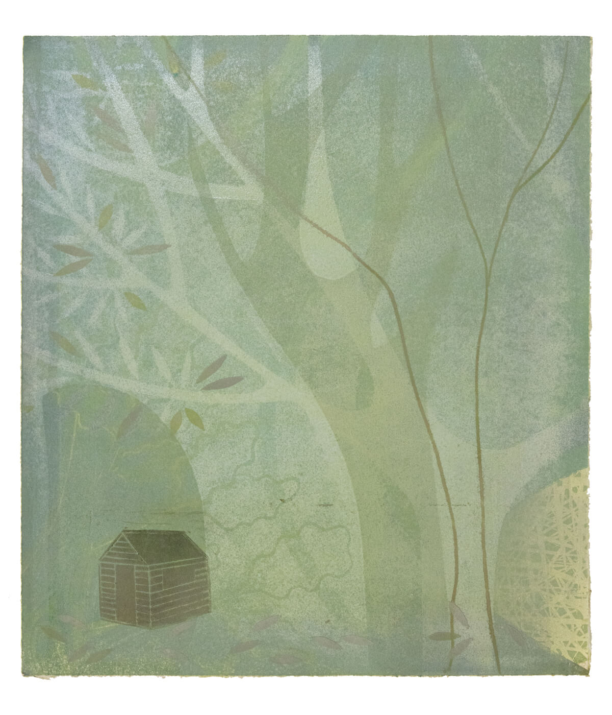 Hut, monotype print by Sarah Kirby