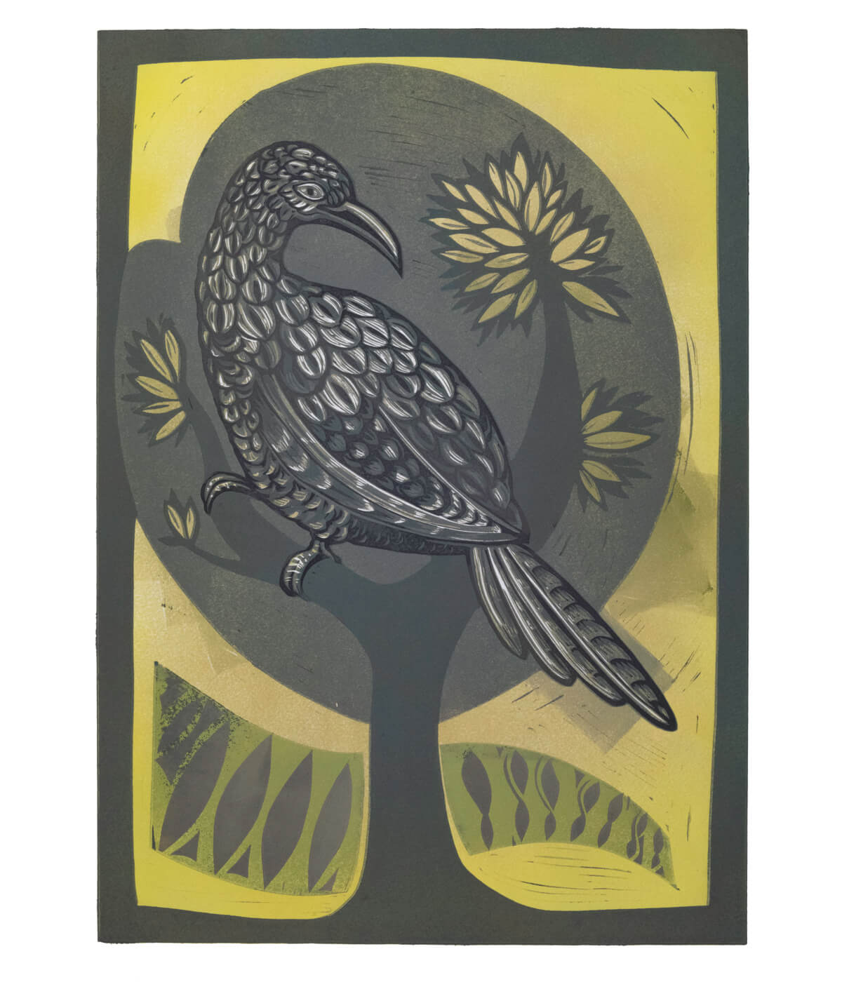 Mrs Griffiths' Cuckoo, a linocut print by Sarah Kirby