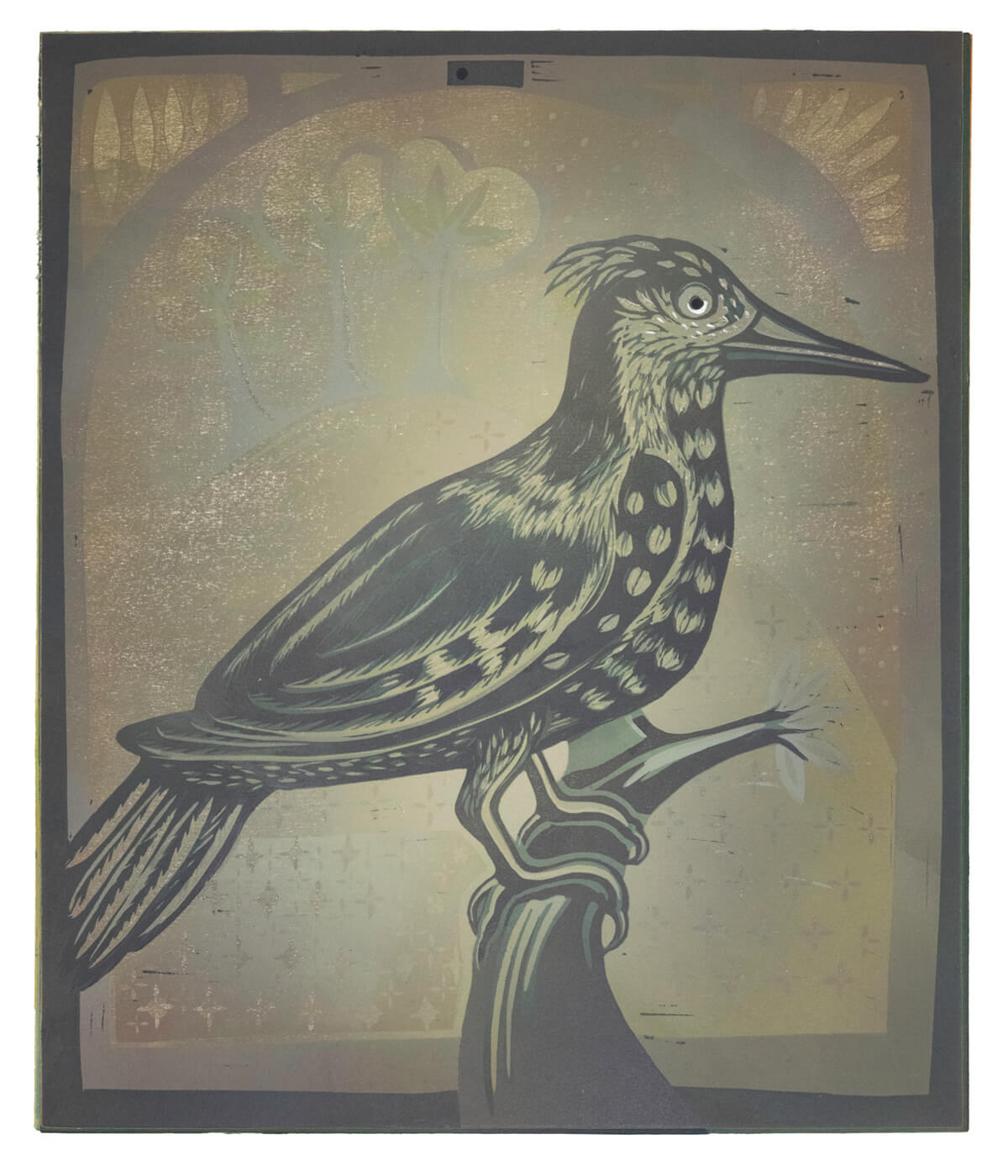 Mrs Griffiths' Lark in Green, a linocut print by Sarah Kirby