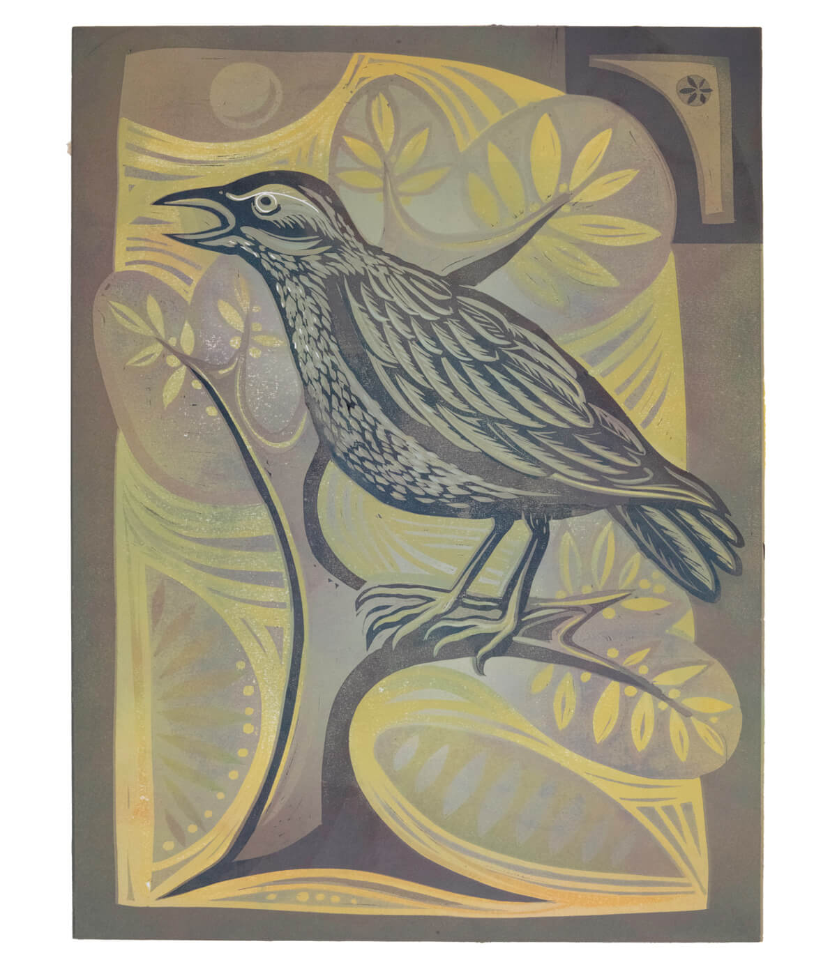 Mrs Griffiths' Lark, a linocut print by Sarah Kirby