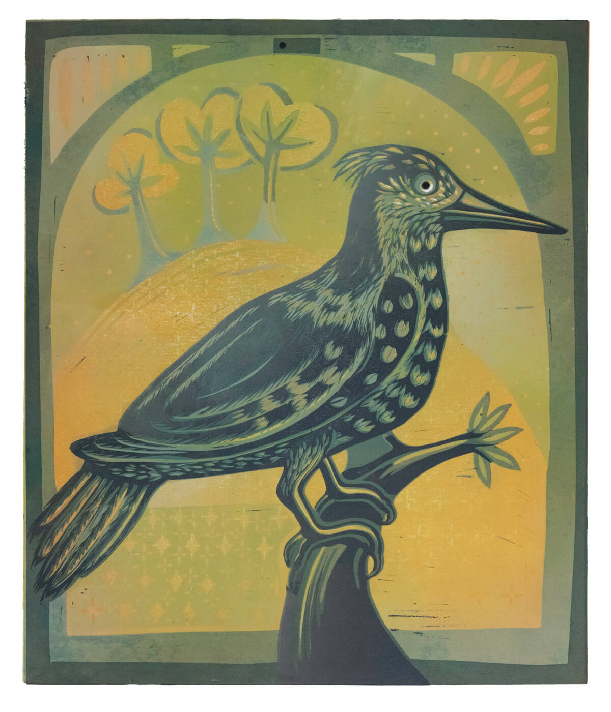 Mrs Griffiths' Lark in Yellow, a linocut print by Sarah Kirby