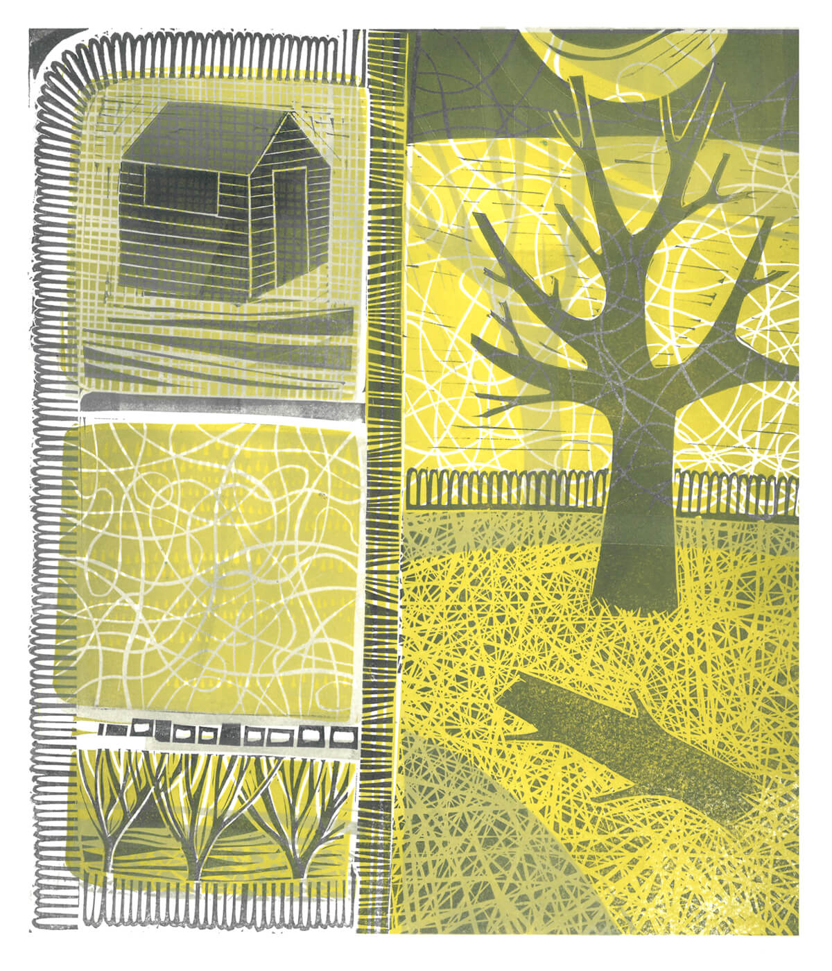 Shortest Day III, a linocut print by Sarah Kirby
