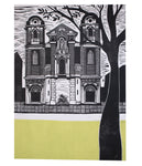St James The Greater, a linocut print by Sarah Kirby