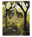 Stoneywell From The Woods, a linocut print by Sarah Kirby