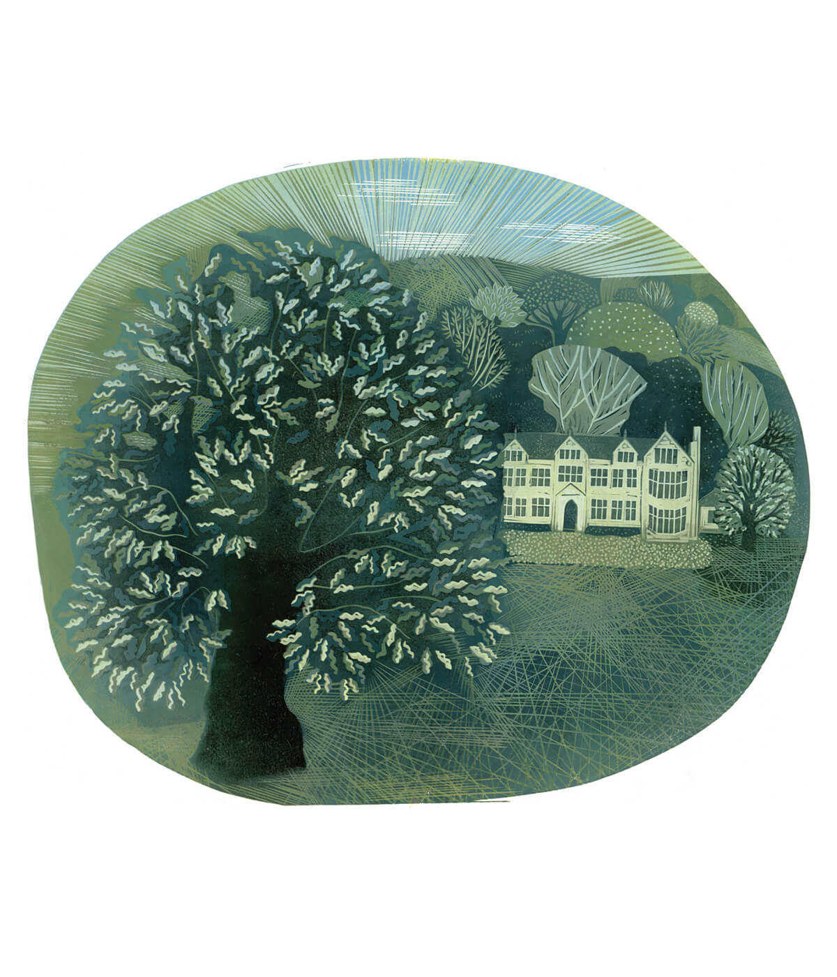 Mayshine at Launde, a linocut print by Sarah Kirby