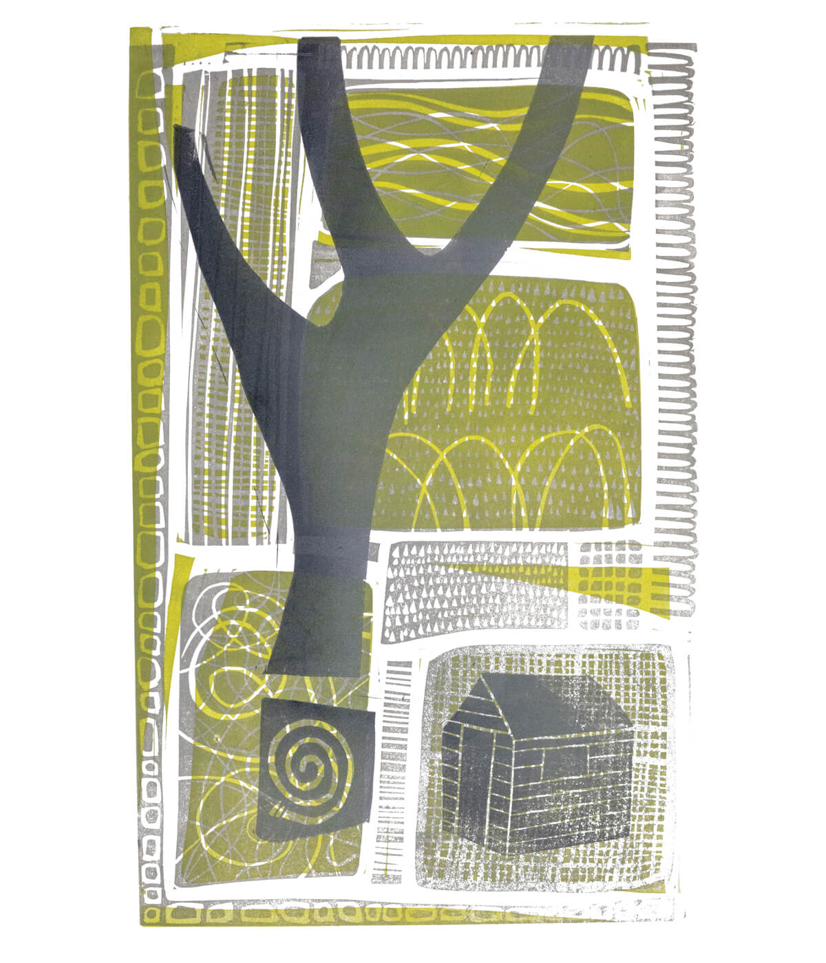 Shortest Day I, a linocut print by Sarah Kirby