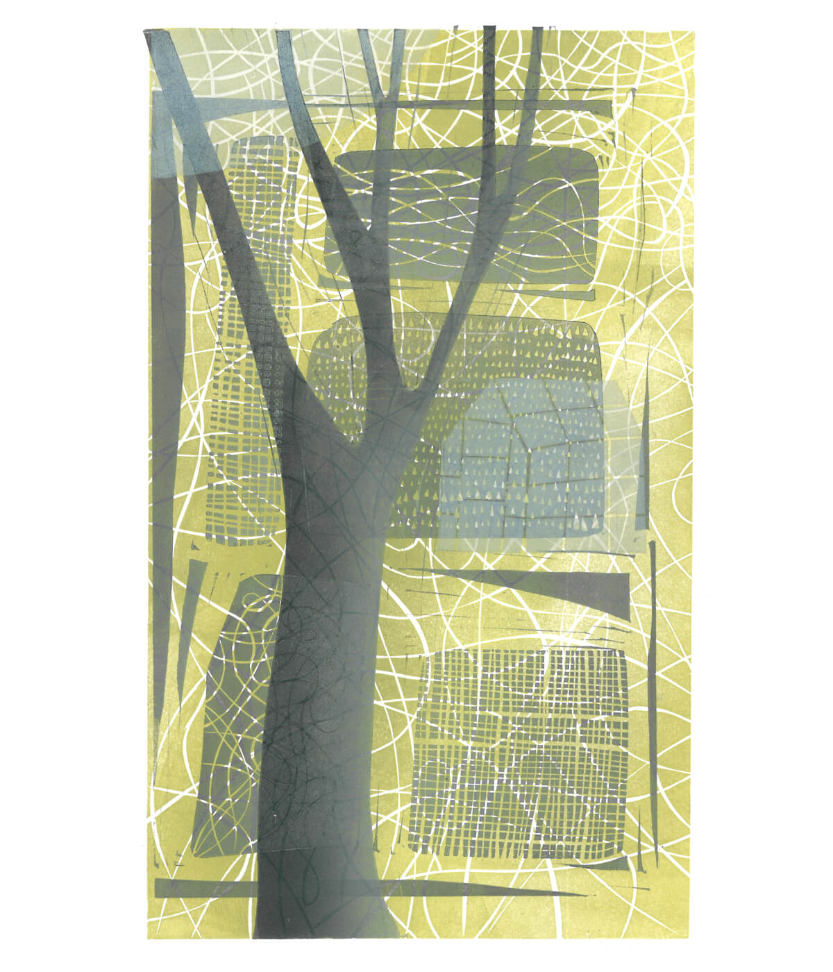 Shortest Day II, a linocut print by Sarah Kirby
