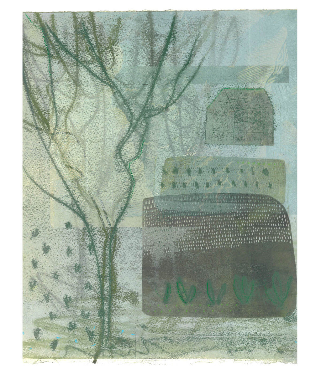 Shortest Day, a monotype print by Sarah Kirby