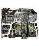 St Margaret's & The Corah Works, a linocut print by Sarah Kirby