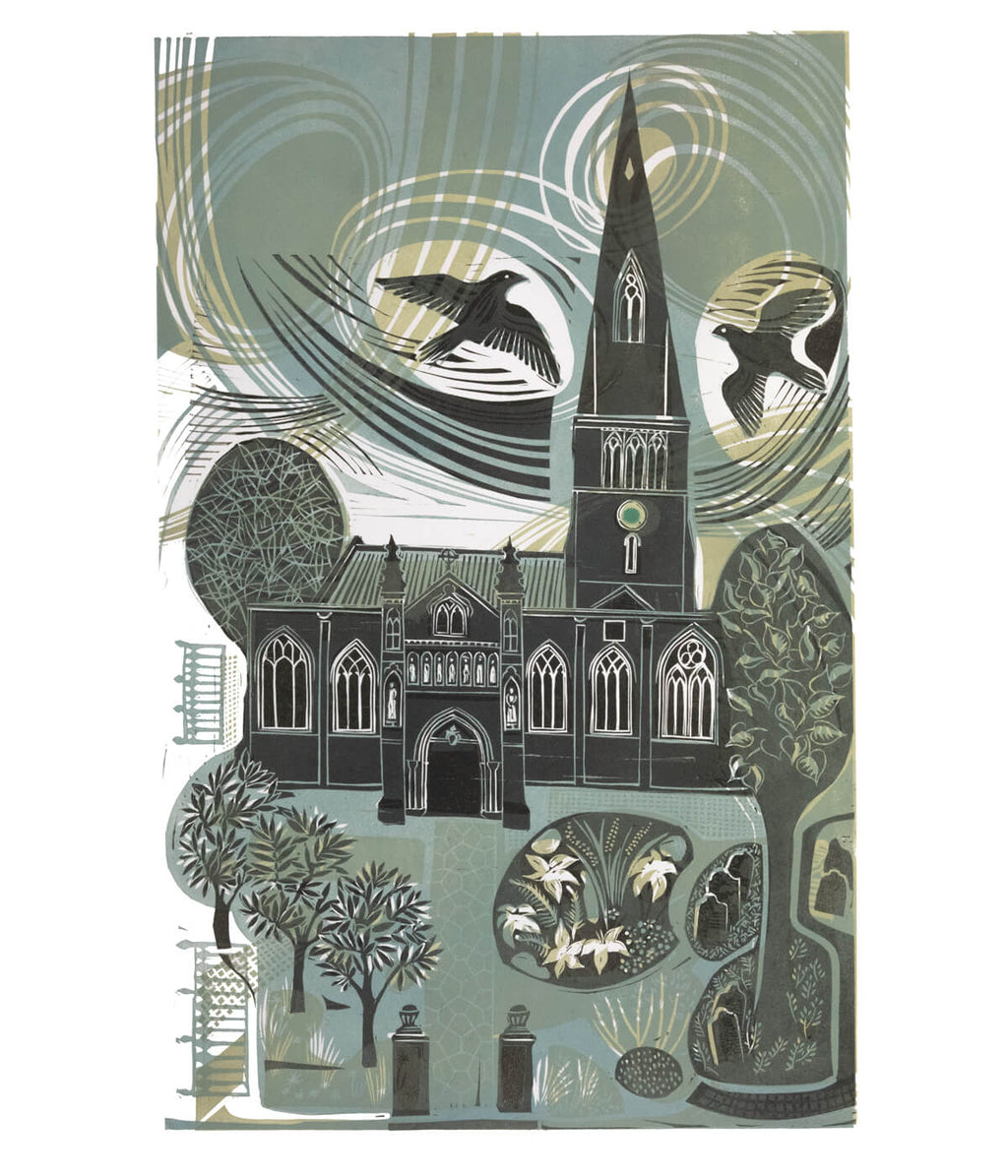 The Cathedral, The Gardens and The Peregrines in Blue/Grey, a linocut print by Sarah Kirby