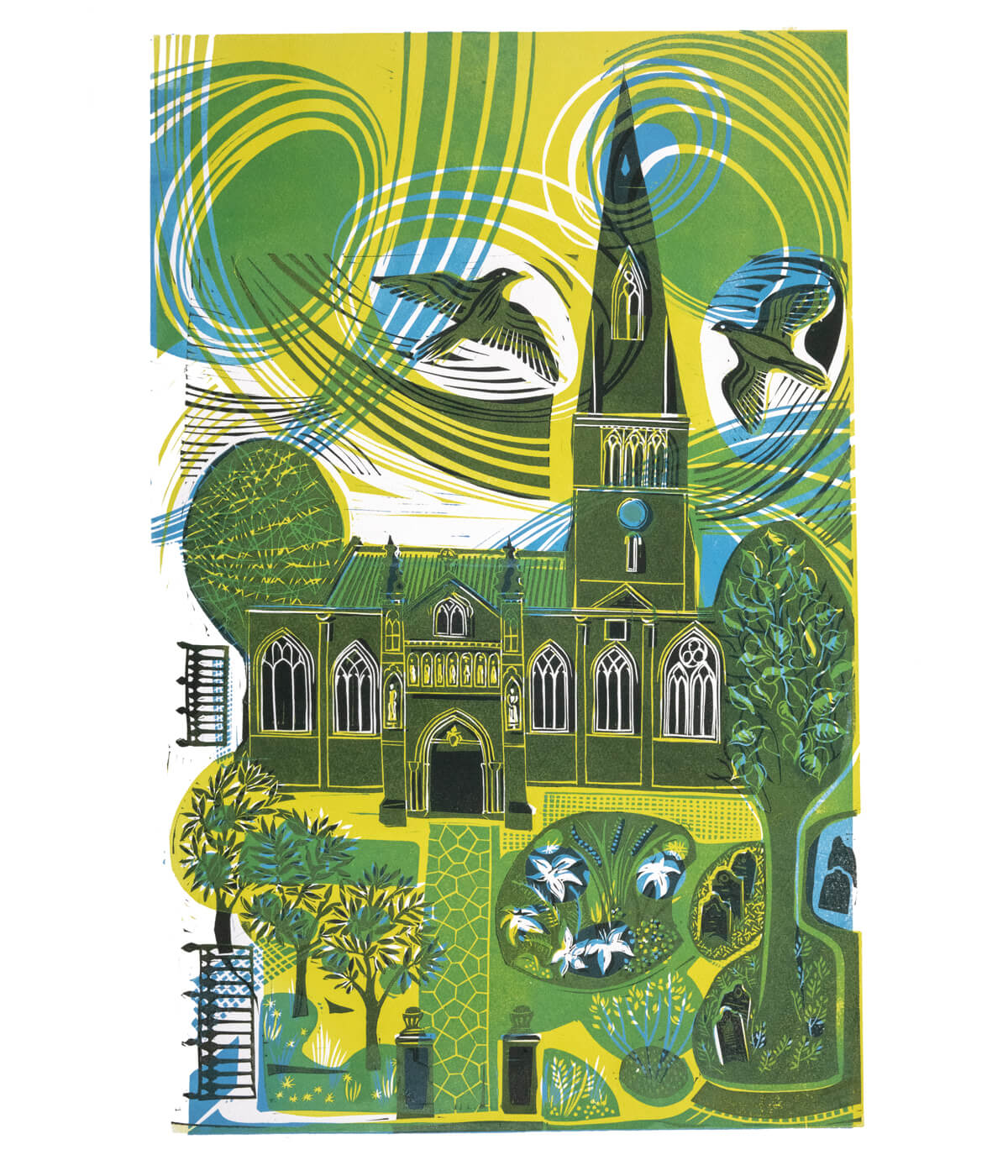 The Cathedral, The Gardens and The Peregrines in Yellow/Blue, a linocut print by Sarah Kirby