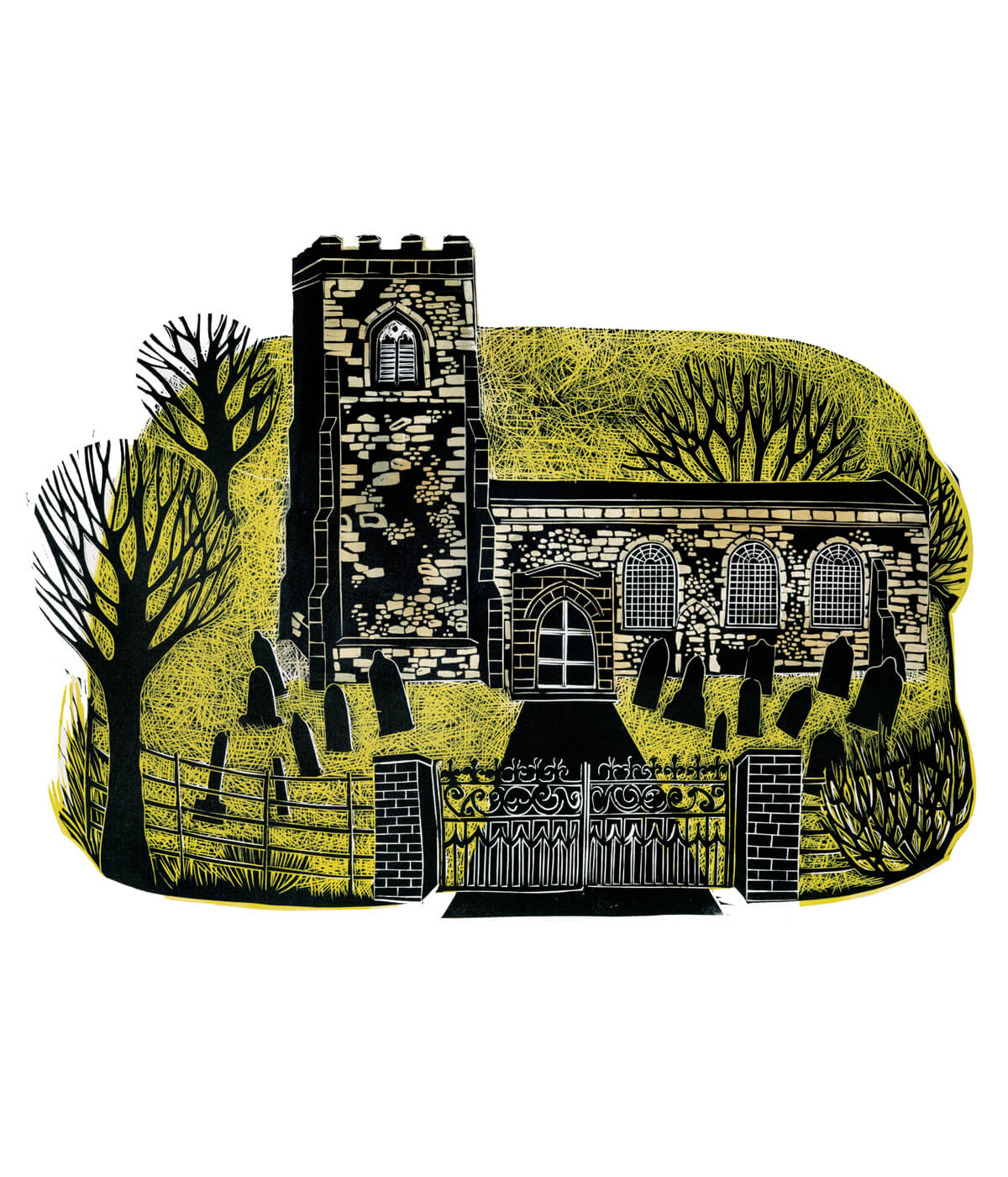Wistow Church, a linocut print by Sarah Kirby