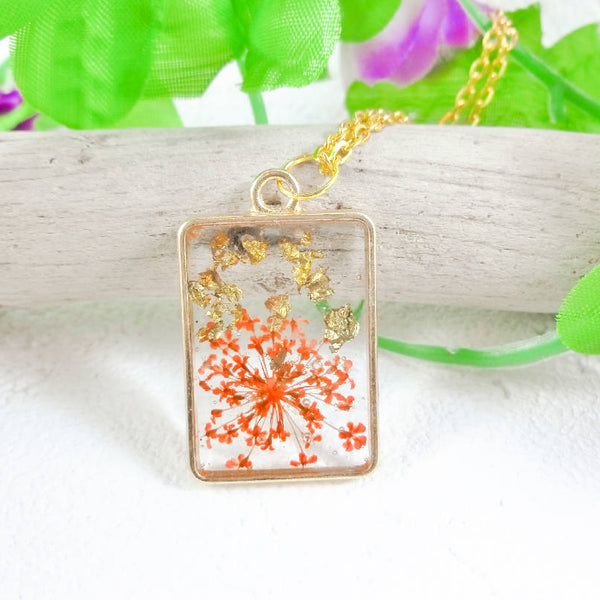 Queens Anne Lace Dried Flower and Gold Foil Resin Necklace by Roelene