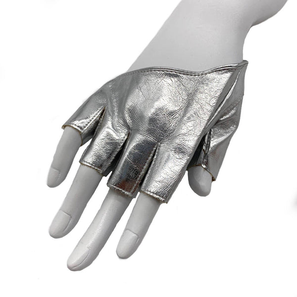 Never Worn metallic silver half finger biker style gloves
