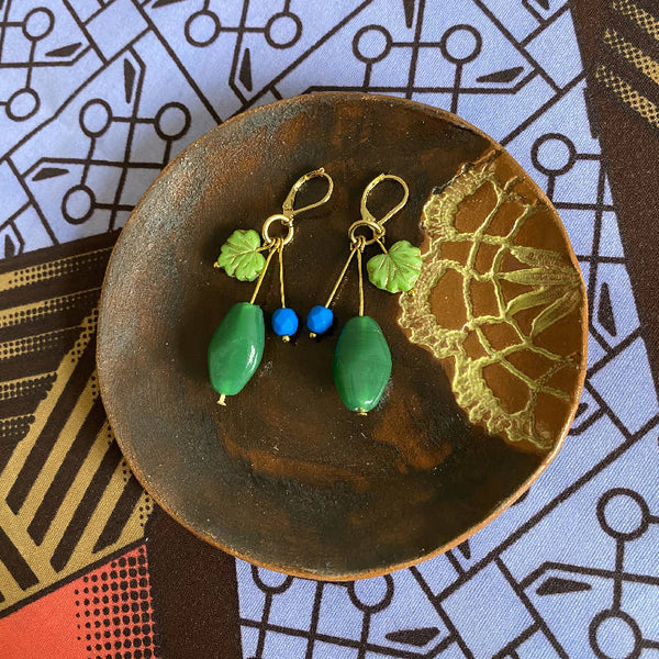 Beads drop earrings Green by Atram Colours