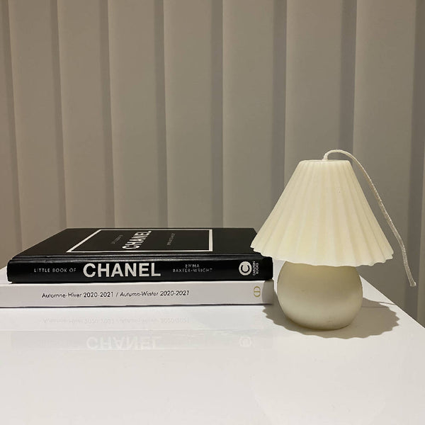 Handmade Vintage Lamp Candle in White