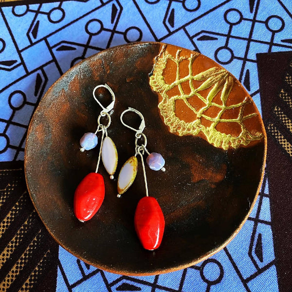 Beads drop earrings Red by Atram Colours