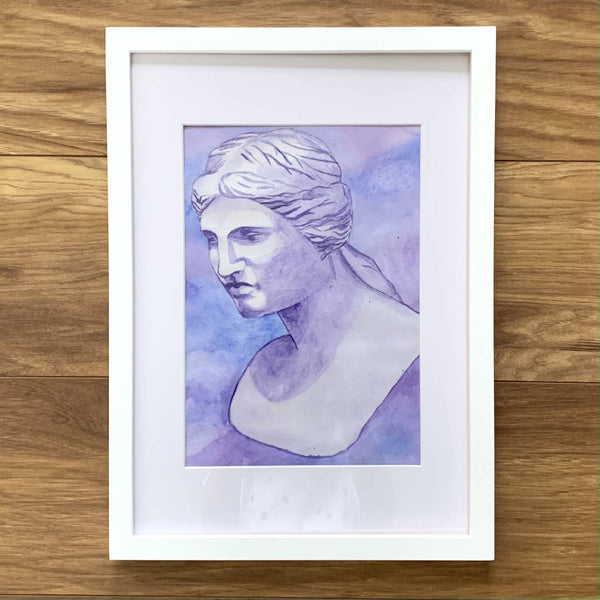 Bright Violet Watercolour Painting Wall Décor in a White Wooden Frame