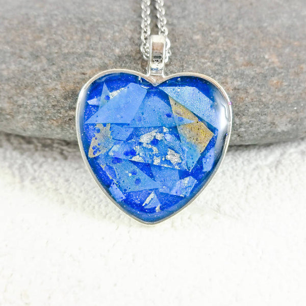 Blue Resin Chip Necklace by Roelene