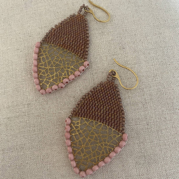 Gold pendant beadwork earrings Brown by Atram Colours