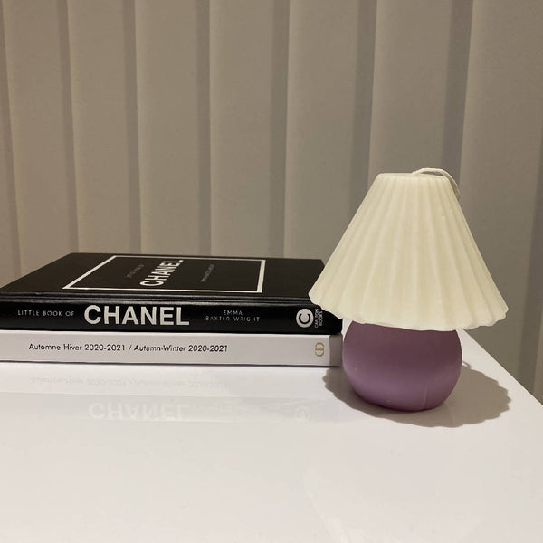 Handmade Vintage Lamp Candle in Lavender Purple