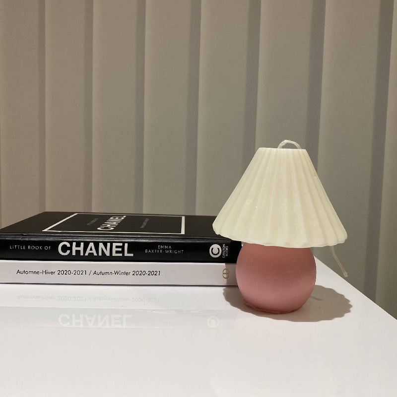 Handmade Vintage Lamp Candle in Rose Pink