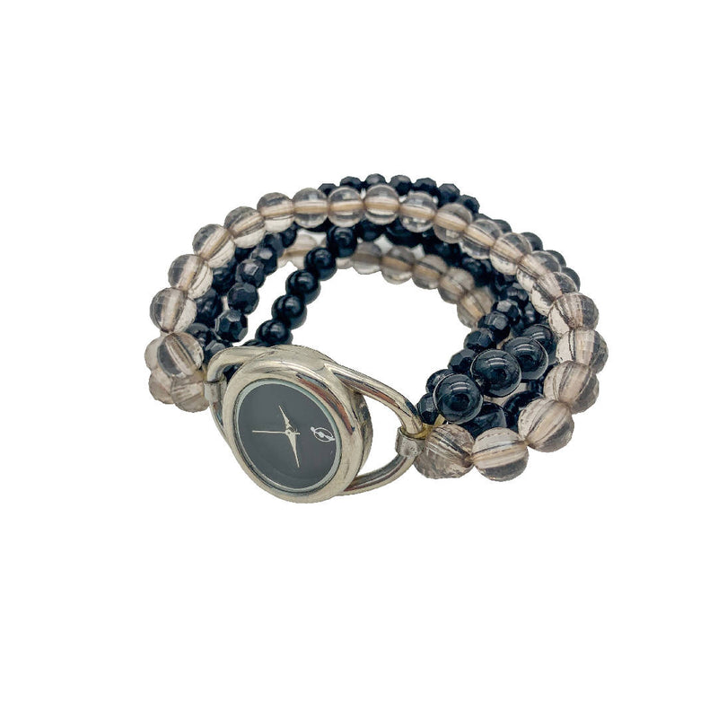 Decorative chic vintage beaded band quartz watch in black and clear colours
