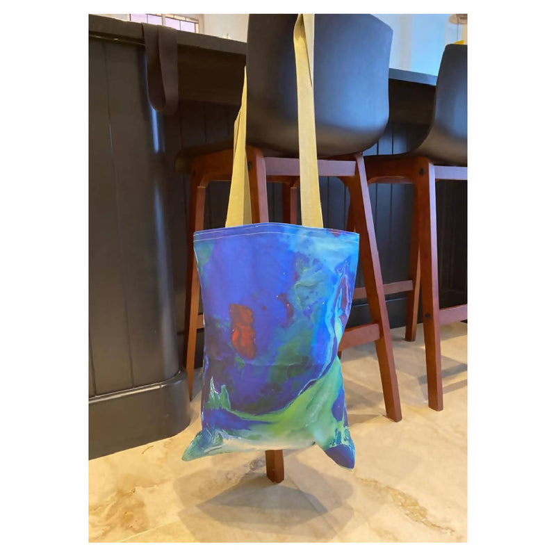 Painted Blue Swirls Tote Bag