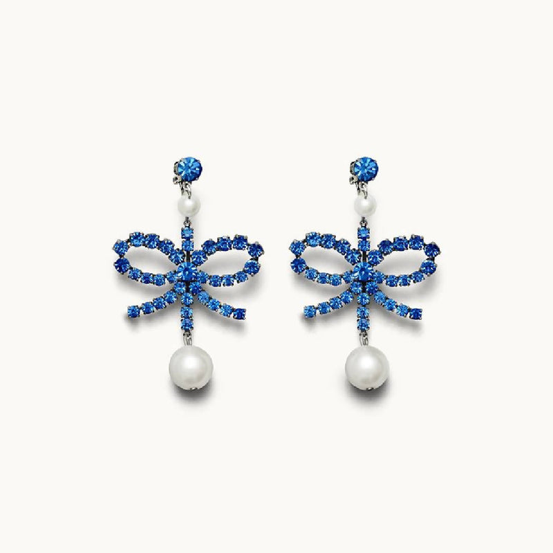 NEW Rare ERDEM x H&M Rhinestone Clip On Crystal Pearl Earrings Blue ORIGINAL BOX