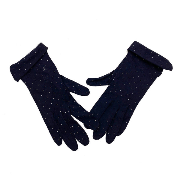 vintage navy blue polka dots glove with folded edge detail