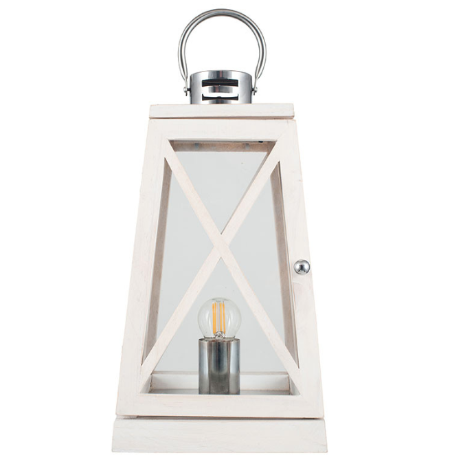 White Wash and Chrome Lantern Table Lamp