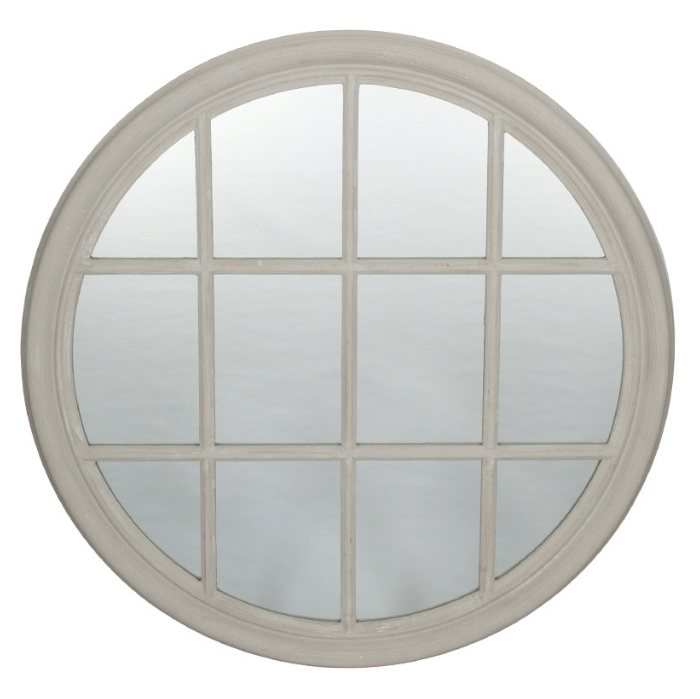 House Grey Wood Round Wall Mirror